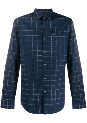 BOSS checked slim-fit cotton shirt - Blue