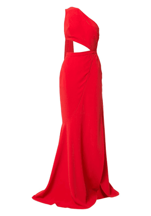 Elie Saab cut-out high slit gown with back sash - Red