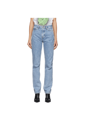 GANNI Blue Washed High-Waisted Jeans