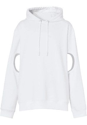 Burberry cut-out sleeves Globe print hoodie - White