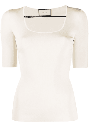 Gucci buckle-strap ribbed T-shirt - NEUTRALS