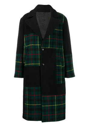 Buscemi checked single-breasted coat - Black