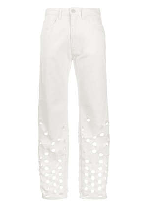 Maison Margiela perforated straight-leg jeans - White