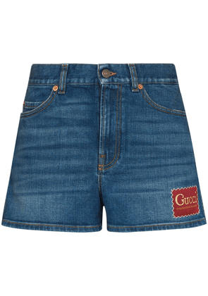 Gucci mid-rise logo patch shorts - Blue