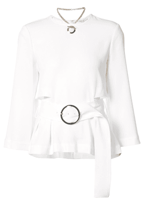 Derek Lam 10 Crosby Long Sleeve Belted Top - White