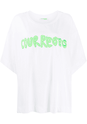 Courrèges embroidered logo cotton T-shirt - White