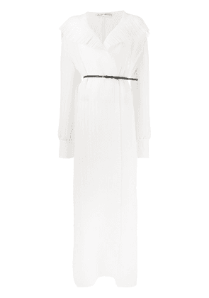 The Row ruffle trim belted dress - White
