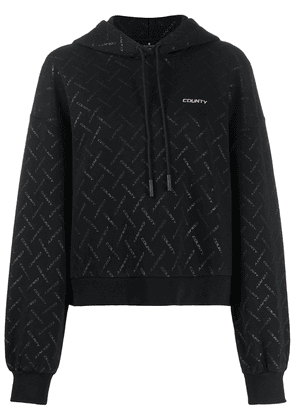 MARCELO BURLON COUNTY OF MILAN all-over logo print hoodie - Black
