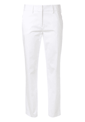 Eleventy cropped straight leg trousers - White