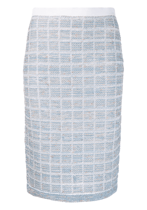 D.Exterior tweed midi skirt - Blue