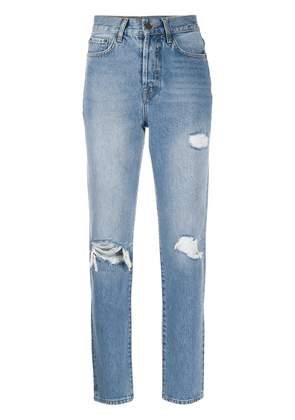 ANINE BING high-rise distressed straight leg jeans - Blue