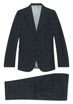 Gucci Heritage Bee checked suit - Blue