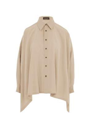 Asymmetric Hem Silk Shirt