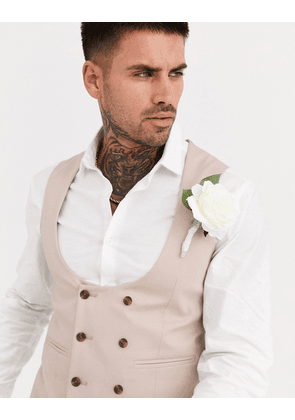 ASOS DESIGN wedding super skinny suit waistcoat in stone stretch cotton