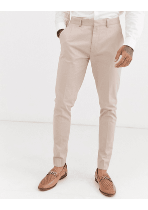 ASOS DESIGN wedding super skinny suit trousers in stone stretch cotton