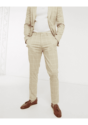 ASOS DESIGN skinny suit trousers in stone windowpane check