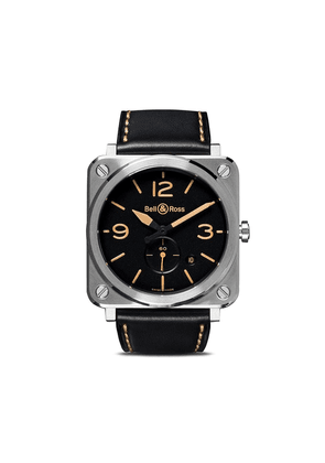 Bell & Ross BR S Steel Heritage 39mm - BLACK B BLACK CALFSKIN WITH