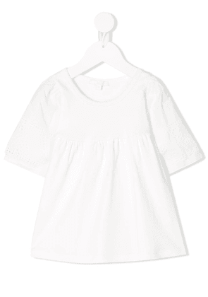 Chloé Kids broderie anglaise detail dress - 117 WHITE