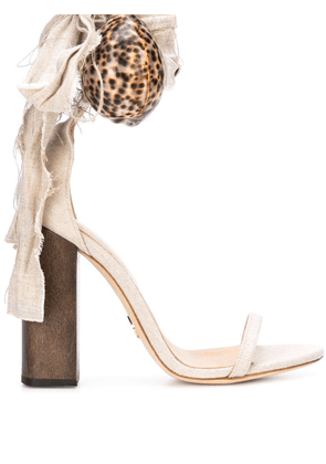 Brother Vellies shell aplique sandals - Brown