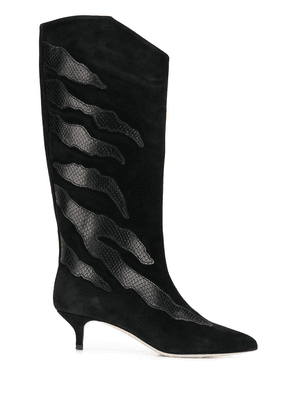 Gia Couture snakeskin effect detail boots - Black