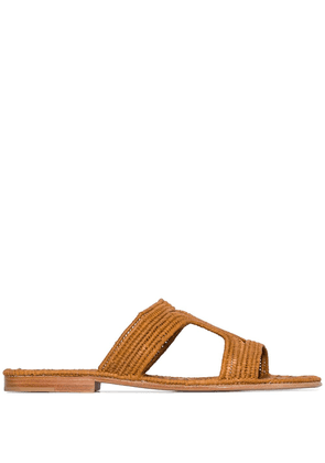 Carrie Forbes Moha raffia flat sandals - Brown