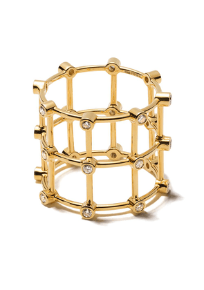 Patcharavipa 18kt siam yellow gold diamond cage ring - 18KT YELLOW