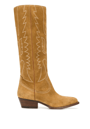 Buttero embroidered knee-length boots - NEUTRALS