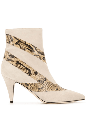 Gia Couture 85mm pointed snakeskin effect boots - NEUTRALS