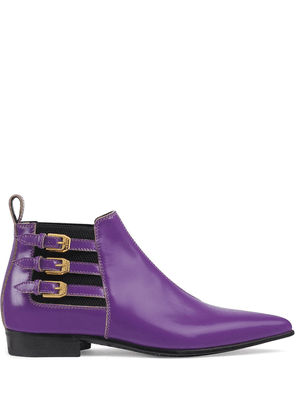 Gucci buckle strap ankle boots - PURPLE