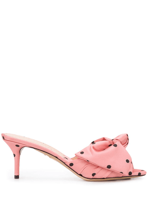 Charlotte Olympia polka dot bow detail mules - PINK