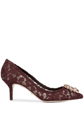 Dolce & Gabbana crystal-embellished 60mm lace pumps - Red