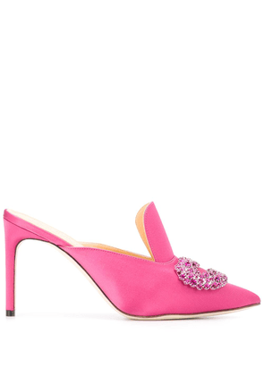 Giannico embellished pointed toe mules - PINK