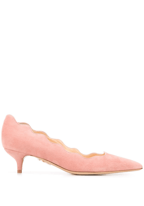 Charlotte Olympia scalloped 45mm suede pumps - PINK