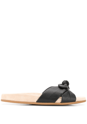 Charlotte Olympia Dylan knotted leather slides - Black