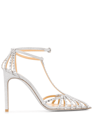 Giannico Eve 110mm glitter sandals - SILVER