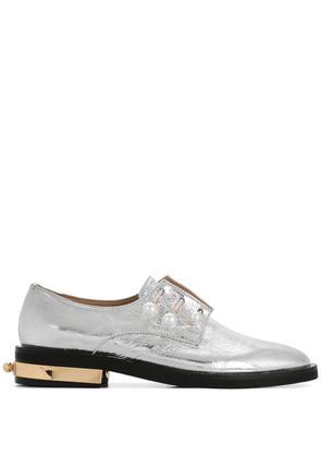 Coliac laminated lace-up shoes - SILVER