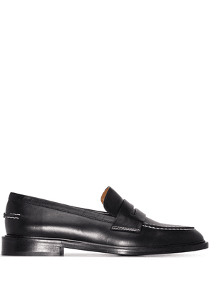 ATP Atelier stitch-trimmed leather penny loafers - Black
