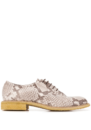 Del Carlo python effect lace-up shoes - NEUTRALS