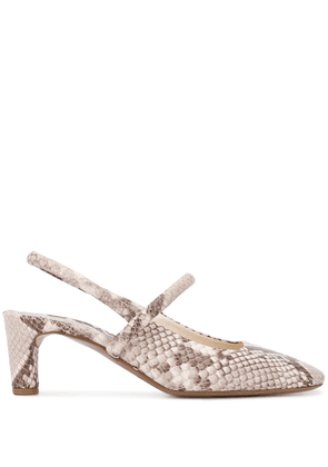 Del Carlo snakeskin effect pumps - Brown