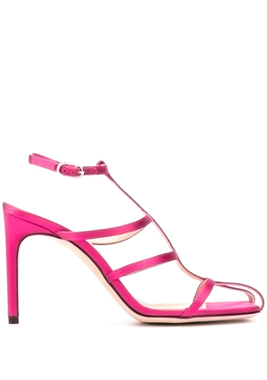 Giannico satin cage sandals - PINK