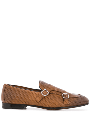 Doucal's double-buckle monk shoes - Brown