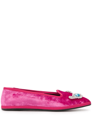 Giannico crystal-embellished flat slippers - PINK
