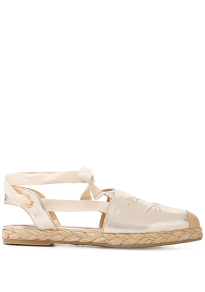 Charlotte Olympia Kitty embroidered espadrilles - GOLD