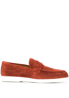 Doucal's two-tone round toe loafers - Brown