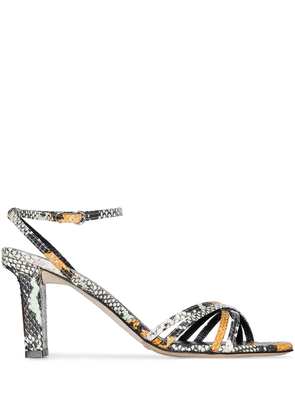 aeyde Annabella 75mm snake-print leather sandals - Green