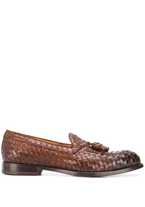 Doucal's tassel-embellished woven loafers - Brown