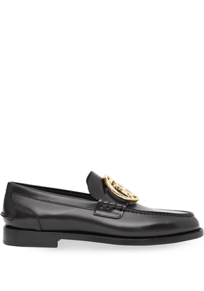 Burberry monogram leather loafers - Black