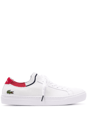 Lacoste knitted style logo embroidered sneakers - White