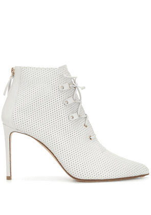 Francesco Russo 100mm lace-up ankle boots - White