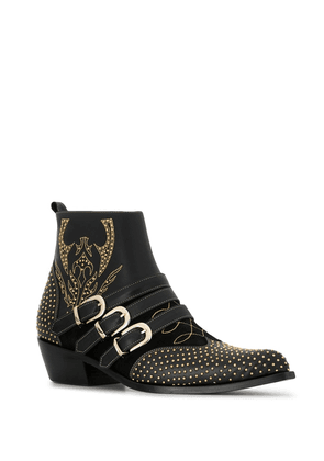 ANINE BING Penny studded buckle ankle boots - Black